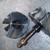 Compressor wheel  (LCF) low cycle fatigue failure, caused by an overspeed and/or turbo speed change, common in front wheel loaders.